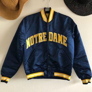 Jackets & Blazers - Vintage Starter Satin Notre Dame Bomber Jacket